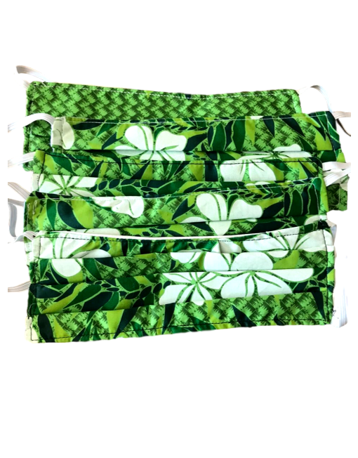 100 % Sustainable Cotton Pleated Face Mask w/ Cloth Filter - Green Floral - eKlozet Luxury Consignment