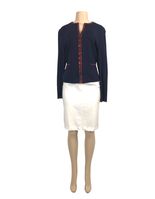 St. John Evening Embellished Collarless Jacket - eKlozet Luxury Consignment