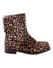 MANOLO BLAHNIK PONY HAIR LEOPARD ANKLE BOOTS