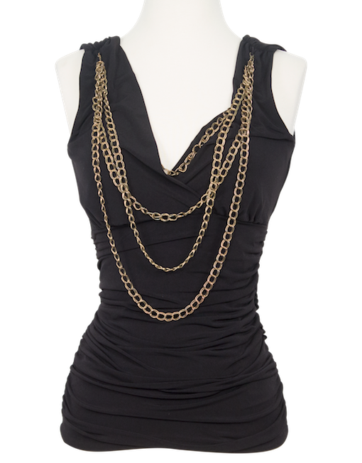 Cache Ruche Sleeveless Top with Chains