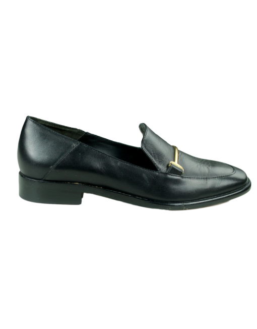 DONNA KARAN Lois Leather Loafers Side - eKlozet Luxury Consignment