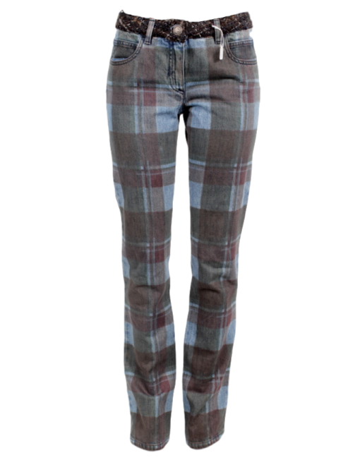 CHANEL PLAID PRINT STRAIGHT-LEG JEANS - eKlozet Luxury Consignment