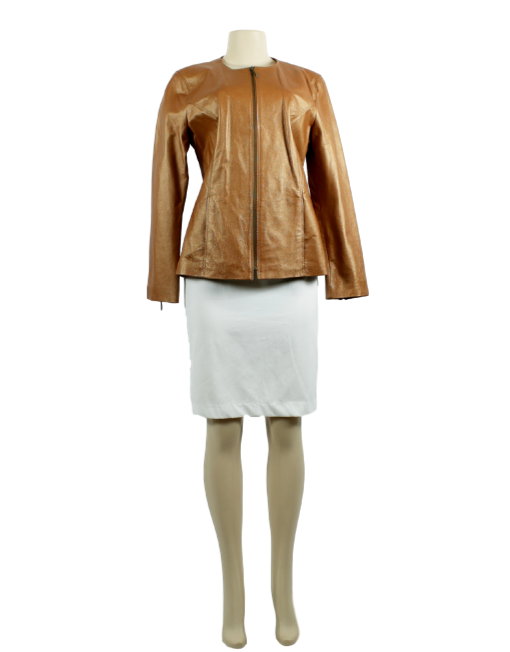 TERRY LEWIS Collarless Leather Jacket - eKlozet Luxury Consignment