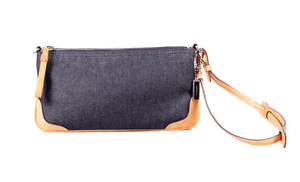 COACH DENIM & LEATHER WRISTLET