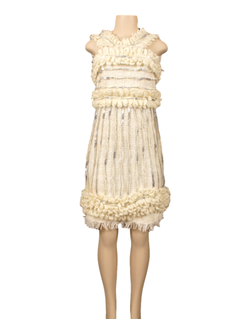 CHANEL SILK TWEED AND KNIT DRESS