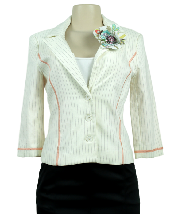 Symmetry Pinstriped Blazer - eKlozet Luxury Consignment