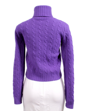RALPH LAUREN CABLE-KNIT TURTLENECK WOOL AND CASHMERE SWEATER