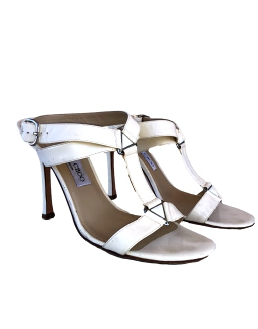 JIMMY CHOO Patent Leather Sandals-Angled Side| eKlozet Designer Consignment