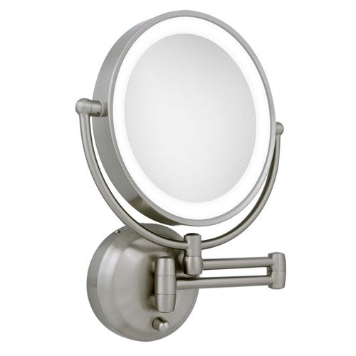 Zadro Cordless Dual LED Lighted Round Wall Mount Mirror 1X/10X, Satin Nickel