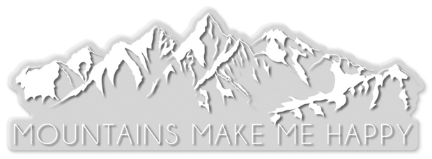 Mountains Make Me Happy Sticker (3x9)