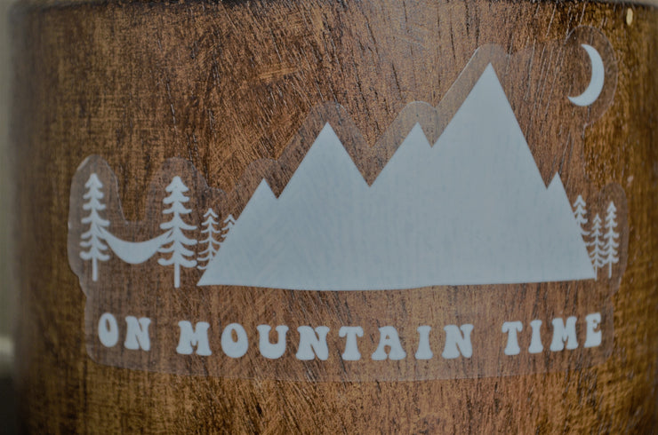 Vibe and Venture On Mountain Time White Sticker