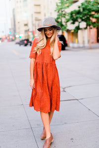 Milan Lace Dress - Rust
