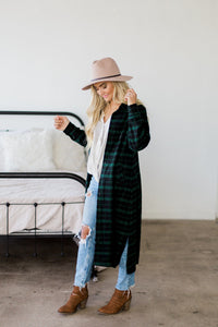 Plaid Shirt Dress - Pine