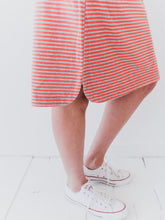 Striped Coral Midi Skirt