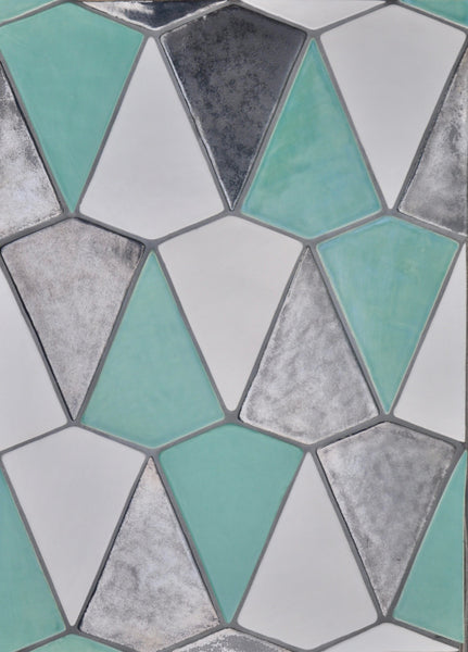 Handmade Tile, Ceramic Tile, Hexagon Tile, Blue Tile, Northern Michigan, Cottage, Cabin Decor, Lakeside Home, Luxury Home, Handcrafted, Handpainted, Geometric Tile, Backsplash, Kitchen Tile, Bathroom Tile, Shower Tile, Home Decor Interior Design, Kite Tile, Metallic Ceramic Tile, Zig Zag, Shape Tile