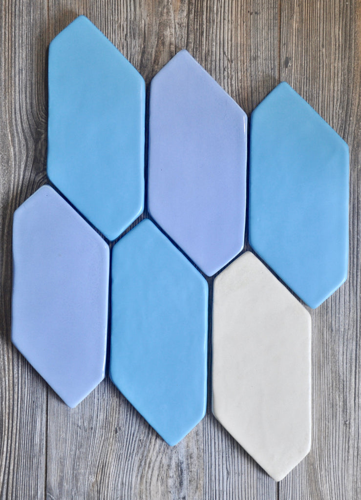 Handmade Tile, Ceramic Tile, Hexagon Tile, Blue Tile, Northern Michigan, Cottage, Cabin Decor, Lakeside Home, Luxury Home, Handcrafted, Handpainted, Geometric Tile, Backsplash, Kitchen Tile, Bathroom Tile, Shower Tile, Home Decor Interior Design, Shape Tile