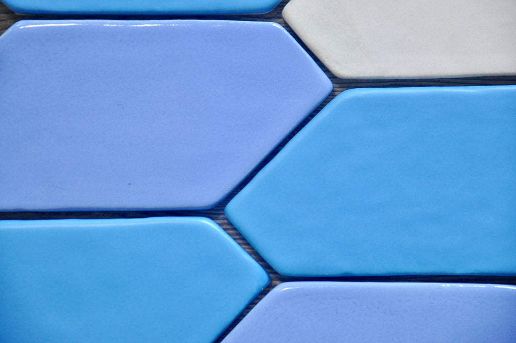 Handmade Tile, Ceramic Tile, Hexagon Tile, Blue Tile, Northern Michigan, Cottage, Cabin Decor, Lakeside Home, Luxury Home, Handcrafted, Handpainted, Geometric Tile, Backsplash, Kitchen Tile, Bathroom Tile, Shower Tile, Home Decor Interior Design, Zig Zag, Shape Tile
