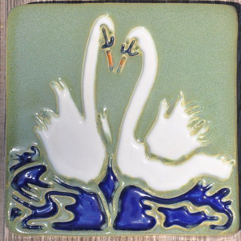 Swan, Bridal Shower, Swan Pair, Couple In Love, Wedding, Wedding Gift, Trumpet Swan, Mute Sean, Cotrage Decior, Lakeside Home, Hone Decor, Wall Decor, Wall Art, Art Tile, Ceramic Tile, Handmade Tile