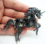 Black Unicorn Rhinestone Brooch