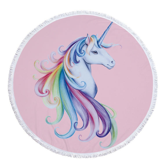 Round Unicorn Beach Towel