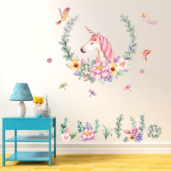 Unicorn and Flowers Wallpaper