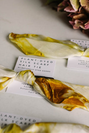 Botanically Dyed Silk Scarf, Topaz - MAULE & MAULE