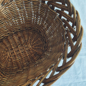 Scalloped edged Wicker Basket - mid century