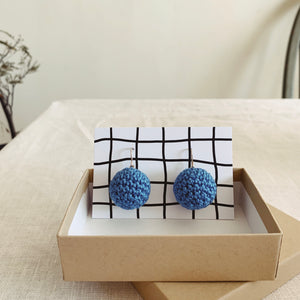 Crocheted Earrings - blue - MAULE & MAULE