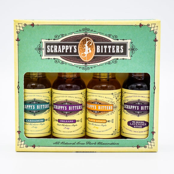 <html>Scrappy's<br><b>The New Classics Sampler</b></br>0.5 Ounce Bottles (4)</html>