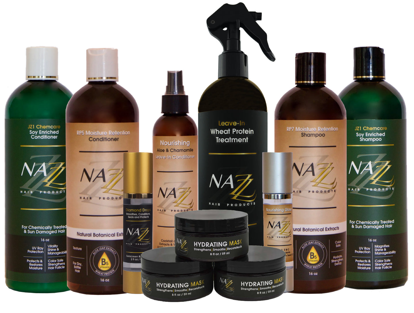 Nazz Hair Products All products background Shampoo | Conditioner | Hydrating Masks | Diamond Drops