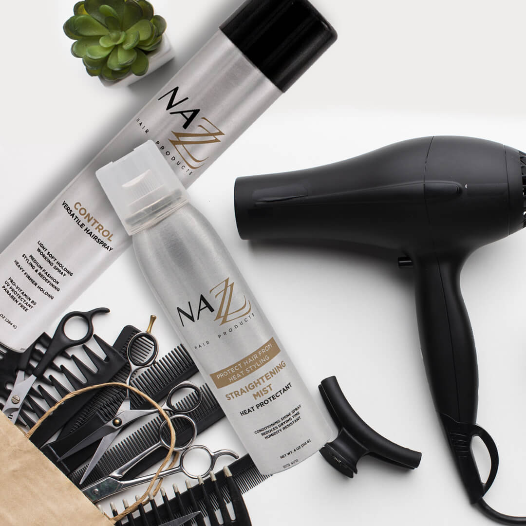 Nazz Hair Products Heat Protectant Straightening Mist 4oz. | blowdryer and styling products | Shop Now banner