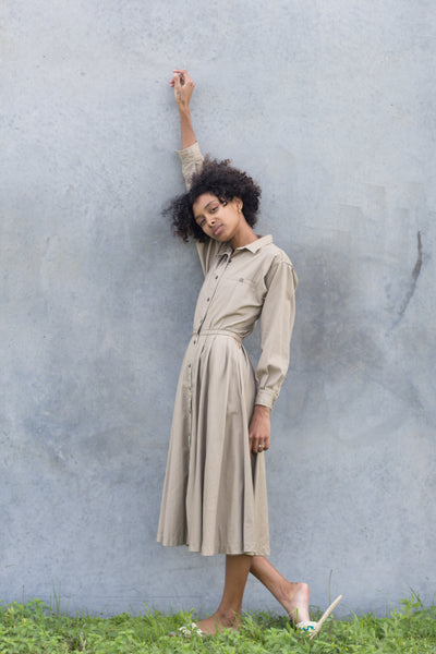 Taupe Cotton Market Dress