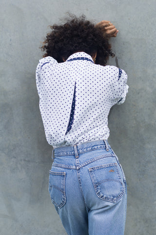 Vintage Polka Dot Bow Blouse