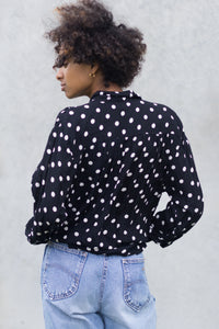 Black Polka Dot Vintage Blouse