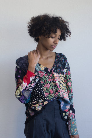 Patchwork Vintage Button Up Blouse