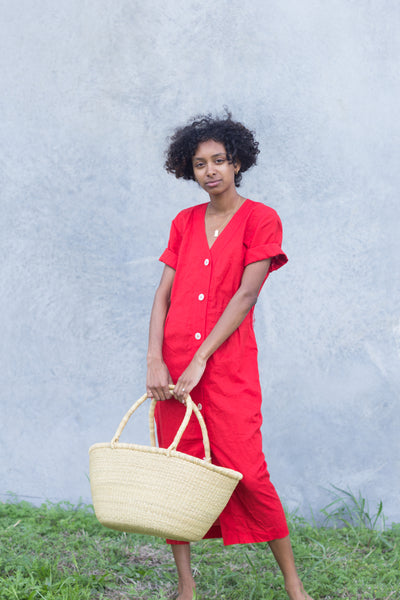 Linen Cherry Red Market Dress