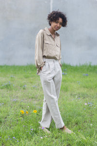 Ecru High Waist Vintage Linen Pants