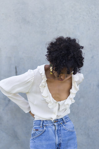 Vintage Cream Ruffle Blouse
