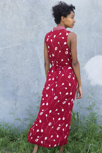 Vintage Red Rose Floral Market Rayon Dress