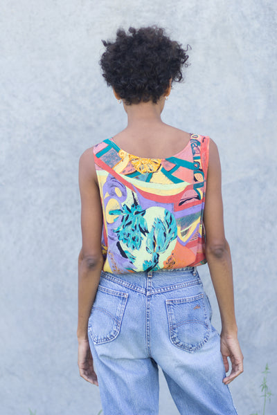 Vintage Rainbow Art Silk Tank