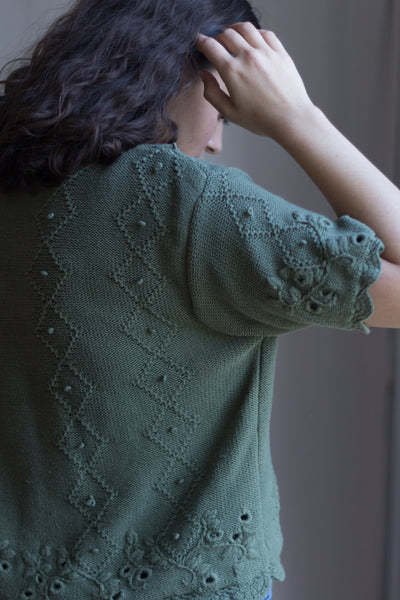 Olive Green Embroidered Cardigan Sweater