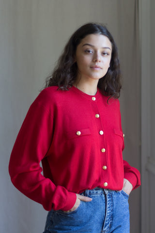Vintage Cherry Red Cardigan Sweater