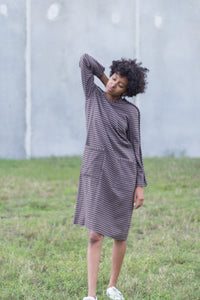 Brown Vintage Striped Avant-Garde Dress