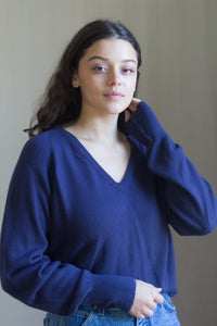 Vintage Blue V-Neck Sweater