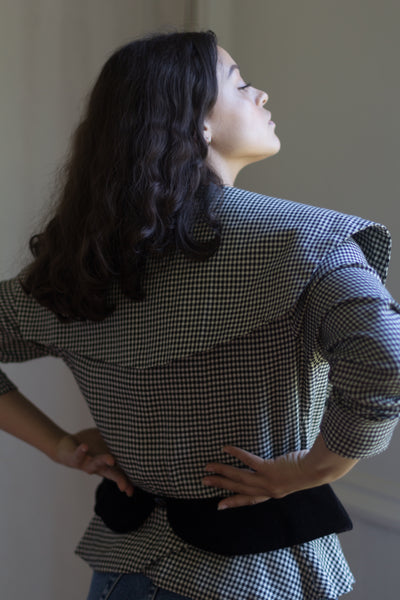 Vintage Houndstooth Print Oversized Collar Blouse