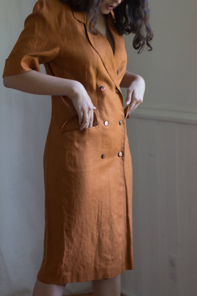 Linen Terra Cotta Vintage Market Dress