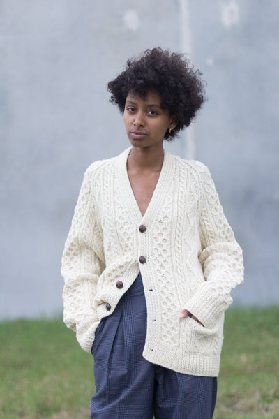 Vintage Cable Knit Pure Wool Handknit Cardigan Sweater