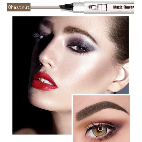 Round Brush Waterproof Microblading Eyebrow Pen