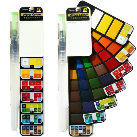 18/25/33/42 Color Solid Water Color Paint Set With Water Paint Brush