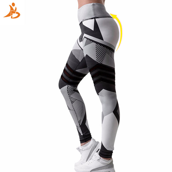High Quality Sexy Yoga Leggings Women Tights Leggings Stripe Print Sportswear Fitness Pants Jogger  Legging Trousers For Women
